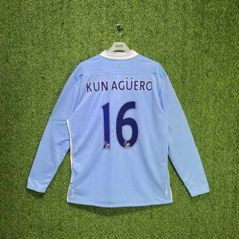 MAN CITY 11/12 (HOME) L/S JSY w/ NAMESET (#16 KUN AGUERO)
