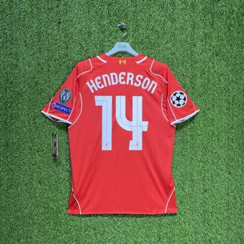 WARRIOR Liverpool 14/15 (HOME) S/S JSY WSTM400 w/ NAMESET (#14 HENDERSON) + UCL BADGE