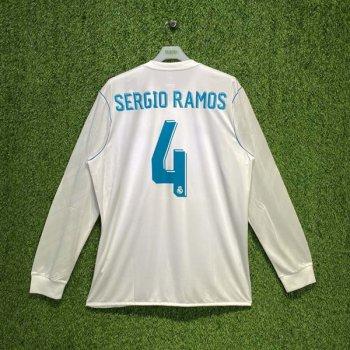 ADIDAS REAL MADRID 17/18 (HOME) L/S JSY B31106 w/ NAMESET (#4 SERGIO RAMOS)