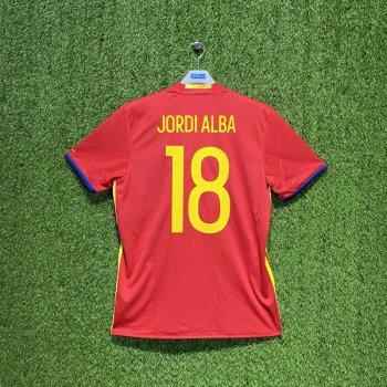 ADIDAS SPAIN 2016 (HOME) S/S JSY AI4411 w/ NAMESET (#18 JORDI ALBA)