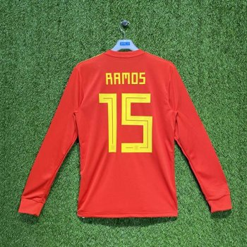 ADIDAS SPAIN 2018 (HOME) L/S JSY BR2722 w/ NAMESET (#15 RAMOS)