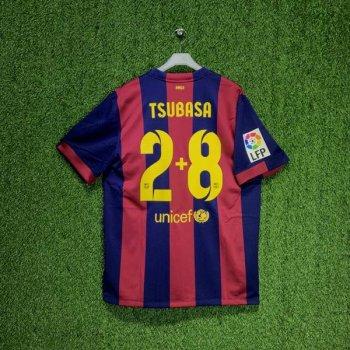 NIKE FC BARCELONA 14/15 (H) S/S STADIUM JSY w/ NAMESET (#2+8 TSUBASA) + LALIGA BADGE