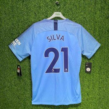 Nike Manchester City 18/19 (H) S/S 894431-489 w/ NAMESET (#21 SILVA)