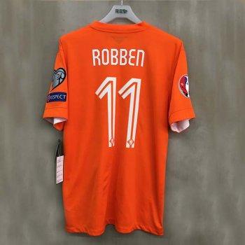 NIKE KNVB 14 (H) S/S 577962-815 w/ NAMESET (#ROBBEN) + EURO 2016 QUALIFIRES BADGE