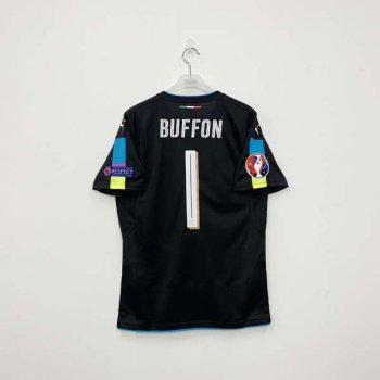 PUMA ITA 16 (A) S/S JSY BLK  w/ Nameset (#1 BUFFON) + EURO 2016 BADGE