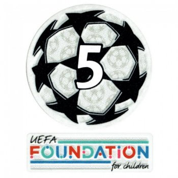 21-22 UCL Starball 5 Times Winner + UEFA Foundation Patch Set