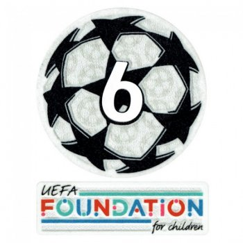 21-22 UCL Starball 6 Times Winner + UEFA Foundation Patch Set