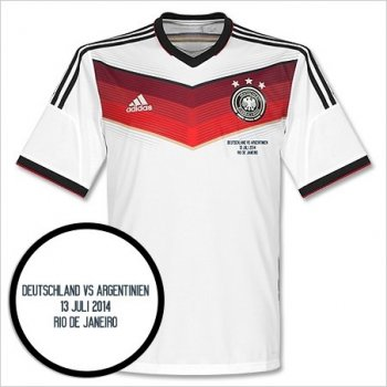 Adidas Germany National Team 2014 World Cup  (H) S/S  + Player Name & No + World Cup Final Match Day Transfer