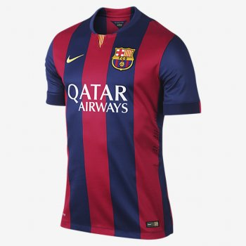 NIKE Barcelona 2014-15 (H) Match S/S 605328-422 + UCL Badge + UEFA Respect