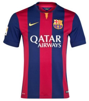 NIKE Barcelona 2014-15 (H) S/S 610594-422 + UCL Badge + UEFA Respect + Player Name&No#