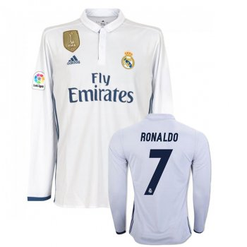 Adidas Real Madrid 16/17 (H) L/S AI5184 With Nameset and World Champions Badge