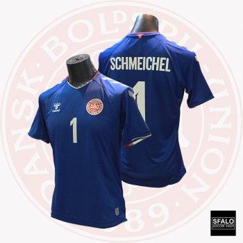 Hummel Denmark 2018 World Cup GK Jersey (Blue) S/S with Player nameset 202580-7045