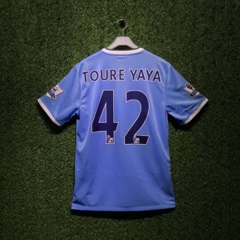 MAN CITY 13/14  S/S  (H) 574863-489 with EPL Nameset and Badge (#42 TOURE YAYA)