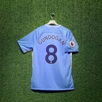NIKE MAN CITY 17/18  STAD JSY SS with EPL Nameset #8 GUNDOGAN + EPL Badge