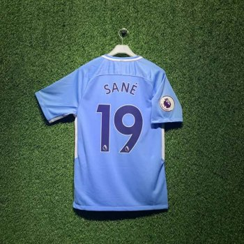 NIKE MAN CITY 17/18 STAD JSY SS with EPL Nameset #19 SANE + EPL Badge