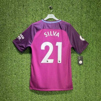 NIKE MAN CITY 17/18 (AWAY) STAD S/S JSY  w/ Nameset #21 SILVA + EPL Badge