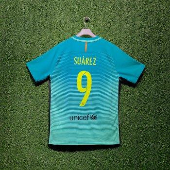NIKE FC Barcelona 16/17 (3RD) PLAYER  JSY With Namset (#9 SUAREZ)